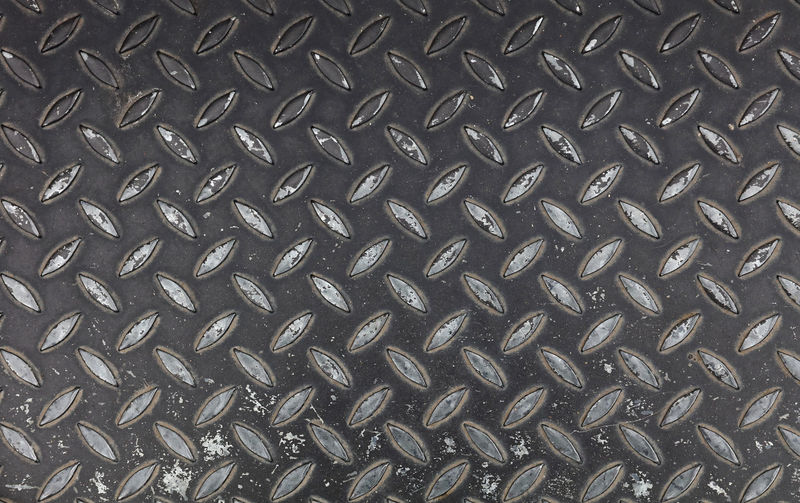 Dark gray industrial anti slip embossed metal steel plate with diagonal bumps of diamond pattern texture and black paint, background, close up Anti Slip Antislip Industrial Ironwork  Stairs Aluminum Backgrounds Black Bump Close-up Diamond Pattern Embossed Floor Full Frame Grey Iron - Metal Metal No People Pattern Protection Steel Textured