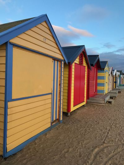 Bathing box Travel Photography Melbourne Bathingbox Sand Beach Built Structure Sky Outdoors Shore Architecture Day Multi Colored Building Exterior Summer Beauty In Nature Cloud - Sky Nature No People