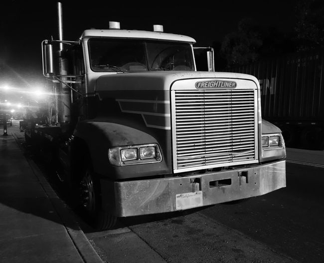 Truck Parked Night Monochrome Blackandwhite Freightliner Tractor Light And Shadow