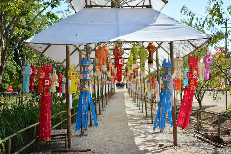 Lanterns Hanging From Roof Of Covered Walkway