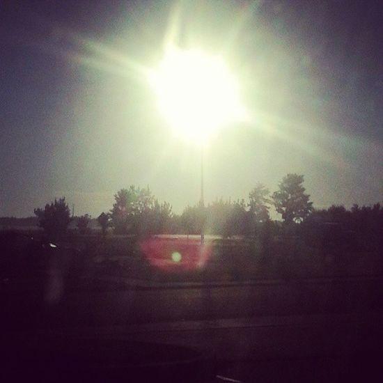 The sun on a pole. 6am Sunrise Coincidence Ithinknot sun lightpole timhortons goodmorningalberta headednorth worktrip 7hourdrive killme