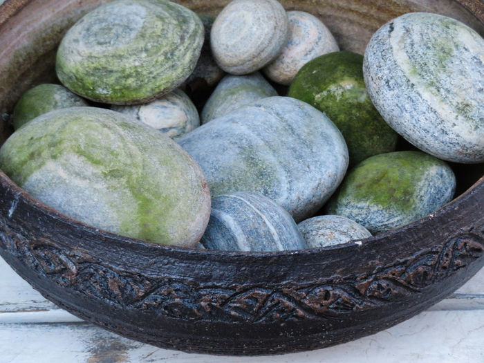 Outdoors Close-up Bowl Of Stone Weathered High Angle View Circular Green And Grey Art Is Everywhere