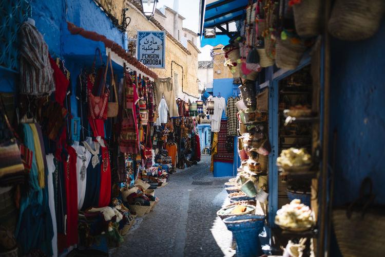 Street market in city