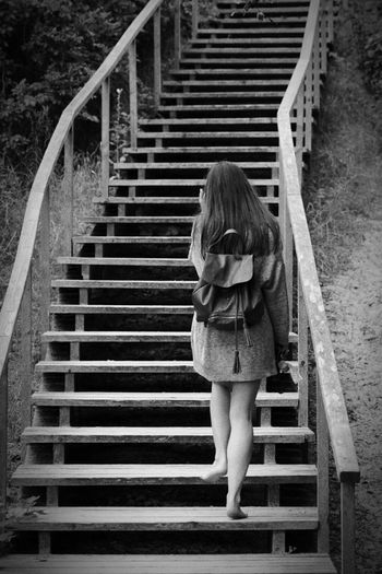 Black And White Stairs Girl From The Back Palanga