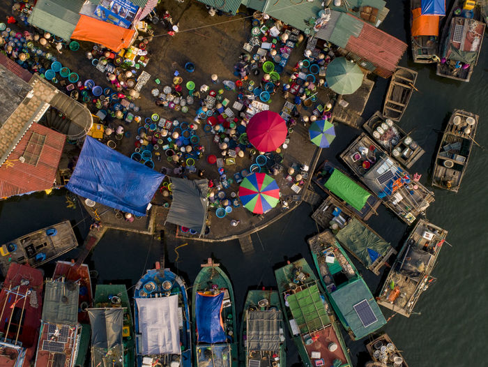 Fishing Boat Fishing Industry Market colour of life Sea High Angle View Drone  Streetphotography Crowd Moving Seaside Sea Life Boat Milticolor Day