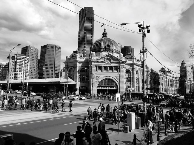 Melbourne City Melbourne City Victoria Australia Urban Hanging Out Monochrome Black And White Streetphotography Enjoying Life Taking Photos Street Photography Streetphoto_bw Flinders Street Station Flinders St #Melbourne Station Heritage