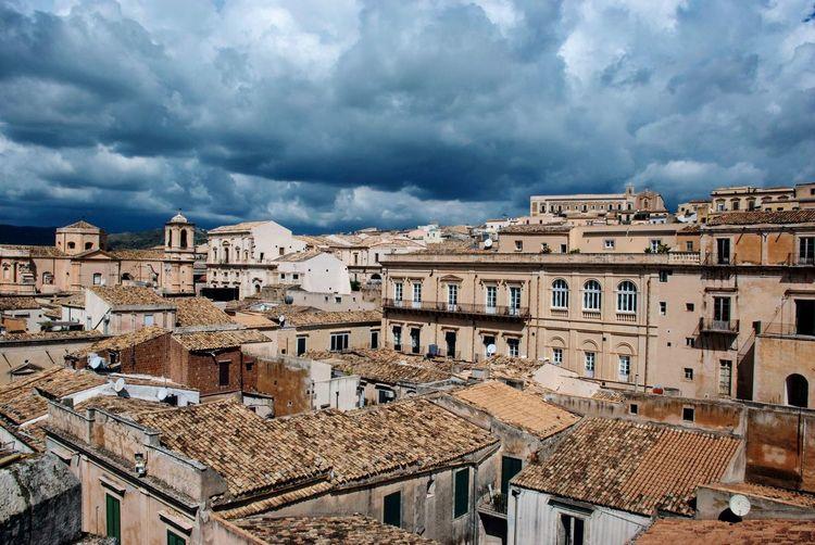 Clouds Dark Buildings Historic Noto Italian Italy Sicilia Sicily Cloud - Sky Architecture Building Exterior Built Structure Sky Building City Nature Overcast Storm Storm Cloud Outdoors Travel Day