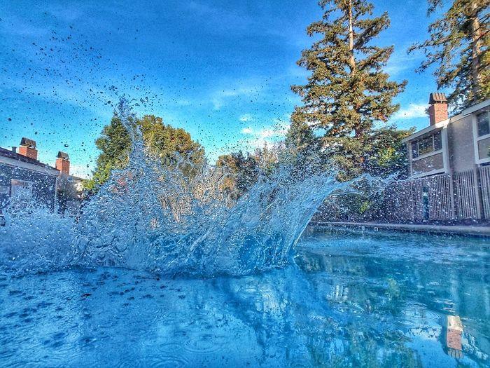 Big Splash Cannonball Splash Making A Splash Water Swimming Pool Blue Splashing
