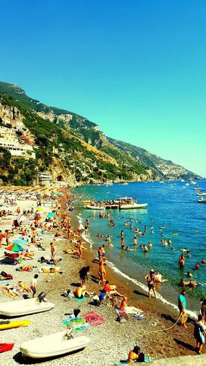 Amalfi Coast Amalficoast Amalfitan Coast Amalfiküste Amalfi_coast Amalfitancoast Amalficoust Beach Positano Positano, Italy Positanocoast Positano Italy Positano, Blue Sea Water Sky Large Group Of People Outdoors Vacations Leisure Activity Swimming Pool Scenics People