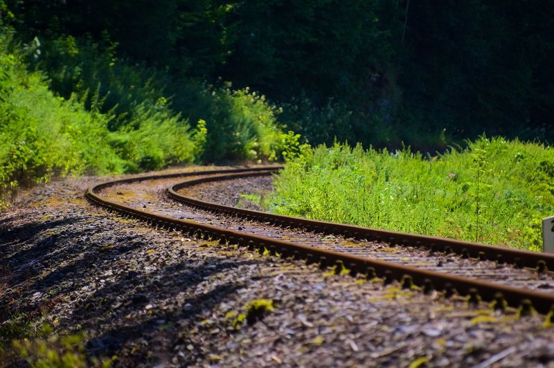 Curved railroad track in the countryside
