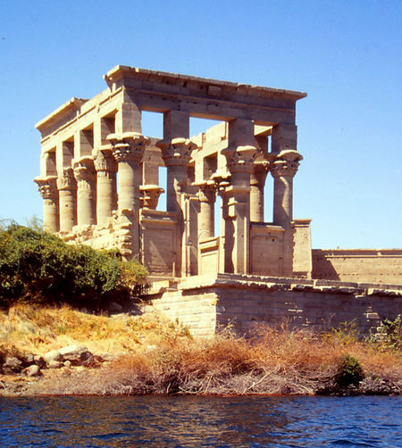 The Kiosk, part of the Temple of Godess Isis on the Philae island - Aswan, Egypt Architecture Water Nature Sky Blue Sunlight Day History Outdoors Clear Sky No People Nubia Unesco World Heritage Aswan, Egypt Travel Destinations Lake Nasser Building Exterior Built Structure Old Ruin Philae Temple Aswan Dam First Cataract Of The Nile Godess Isis Island Of Philae
