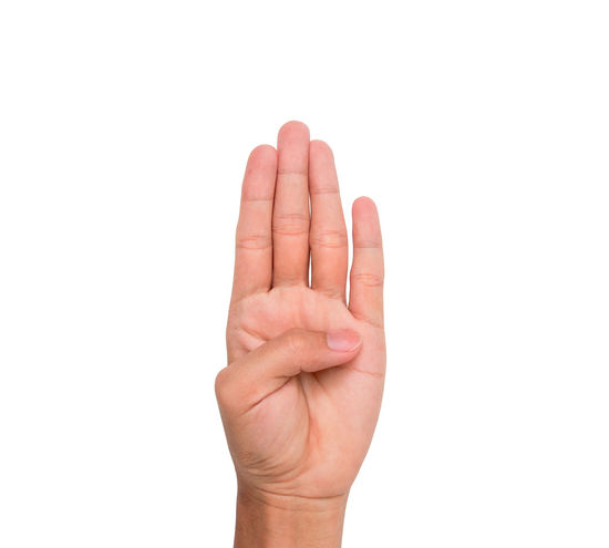 Hand sign of four, fourth, etc. with white background Communication Conceptual Four Fourth Gestures Human Finger Message Nails Palm Sign Symbol Thumb Wrist