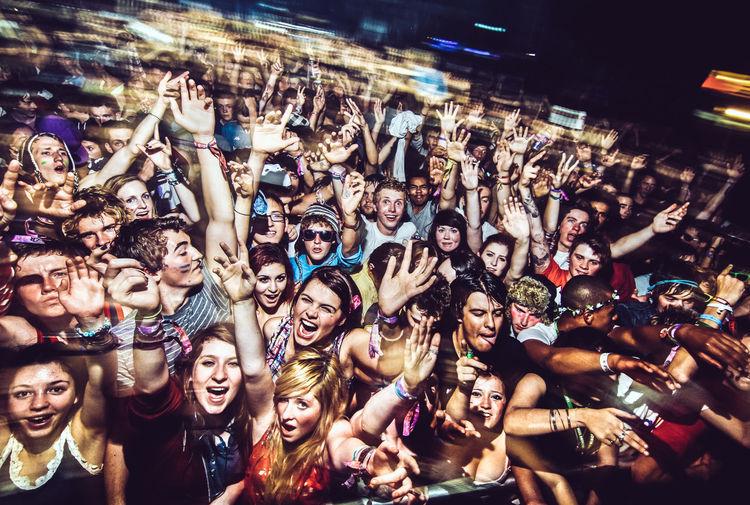 High Angle View Of Crowd Enjoying At Nightclub
