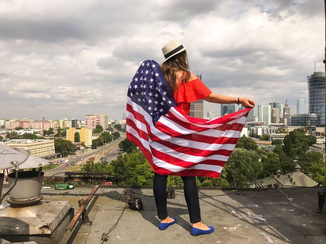 Cloud - Sky Architecture City One Person Lifestyles Young Women Lifestyle The Week Of Eyeem IPhone 7 Plus USA FLAG The Week On Eyem American Flag Fourth Of July American Patriotism Flag America Patriotic 4th Of July Flags USA Independence Day EyeEm Gallery EyeEm Freedom Done That.
