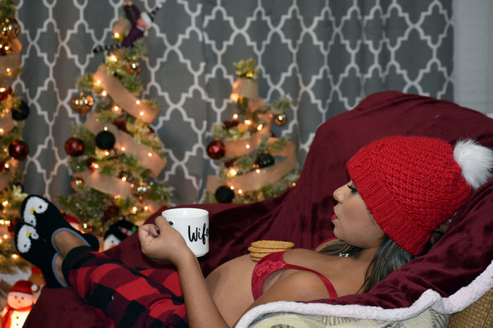 Cocoa, Cookies, and Christmas Red Pjs Pijamas Lingerie Nikon D3400 Wife Women Attractive Cookies DreamGirl Pregnant Woman Celebration Christmas Christmas Tree Hot Cocoa  Pregnant Pregnant Belly  Pregnant Phtography Real People Married