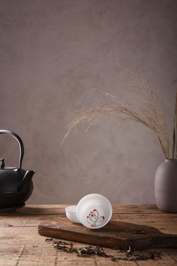 Tea cup on table