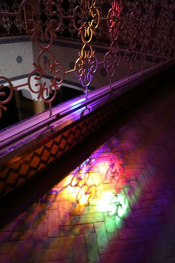 Colours have the ability to make the familiar have a completely new meaning. Illuminated Multi Colored Night No People Indoors  Lighting Equipment Decoration Glowing Light High Angle View Pattern Hanging Flooring Light - Natural Phenomenon Art And Craft Ceiling Ornate Architecture