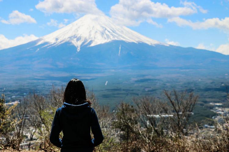 Rear view of woman looking at mount fuji