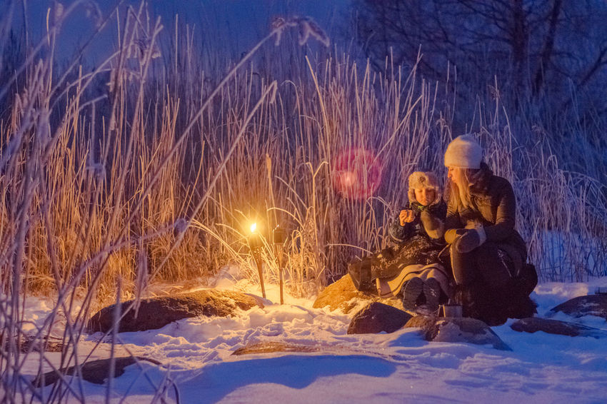 Picnik by the lake Peipus Adventure Cold Temperature Estonian Nature Family Friendship Hiking Lake Peipus Nature Night Outdoors People Picnic Picnicking Quality Time Snow Snow ❄ Togetherness Torches Two People Vacations Warm Clothing Winter