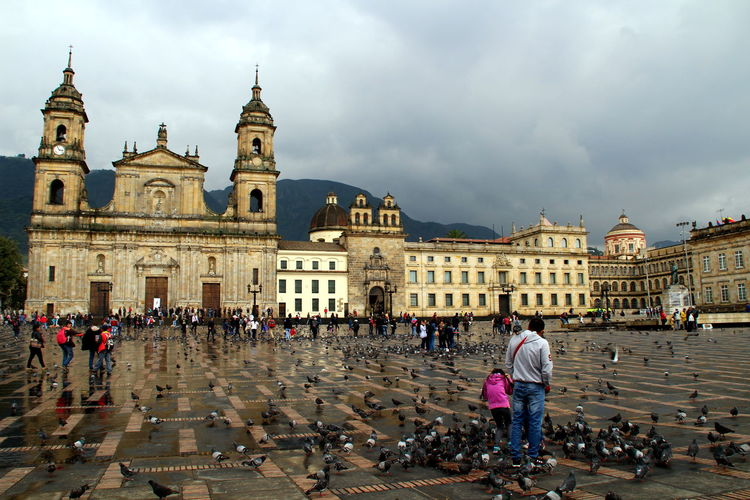 Animals Architecture Birds Bogotá Building Exterior Buildings Church Clouds Colombia Colonial Grey Latin America Mountain People Pigeotto Sky South America Traveling