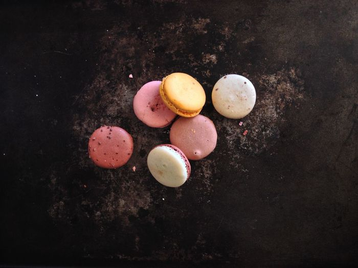 Directly above view of macaroons on table