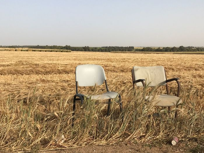 Field No People Hay Nature Day Landscape Rural Scene Agriculture Outdoors Clear Sky Grass Sky Hay Bale Chairs Furnitures Nature Design