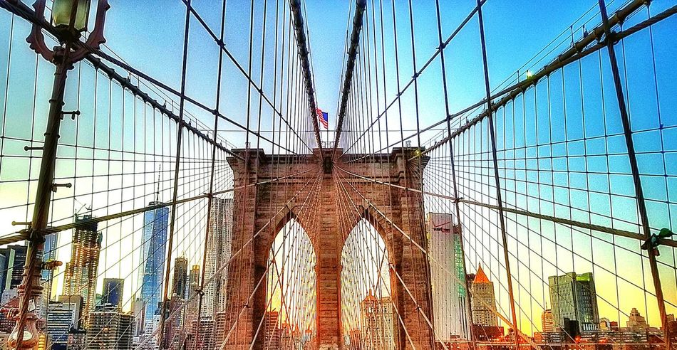 Architecture American Flag Brooklyn Bridge  Urban Skyline International Landmark Nycphotography SunsetNyc New York New York City Photos NYC Photography Brooklyn Bridge  Famous Place Steel Cable