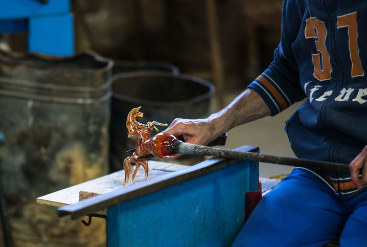 Day Factory Focus On Foreground Glass - Material Glass Factory Human Hand Lifestyles Men Muranoglass Occupation One Person Outdoors People Real People Skill