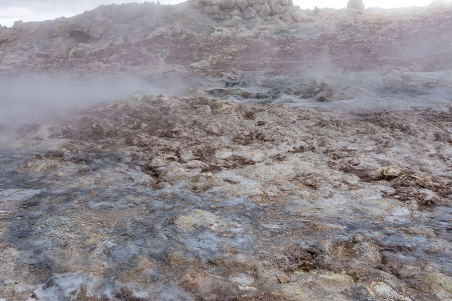Hverir, steam from the beginning of the world That's right, imagine how the earth before the life even said hello looked like. Maybe like this, who knows? Hot Hverarönd Mars Myvatn Steam Boiling Empty Geothermal  Grey Hverir Mud Orange Color Otherworldly Puddle Road Trip Rotten Egg Stink Sulfur