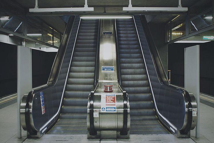 Empty escalators at subway station