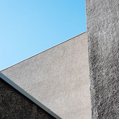 Architecture Berlin Berlin Photography Angles Angles And Lines Berliner Ansichten Blank Blue Building Building Exterior Built Structure Clear Sky Concrete Concrete Jungle Day Geometric Shape Geometry Low Angle View No People Wall - Building Feature
