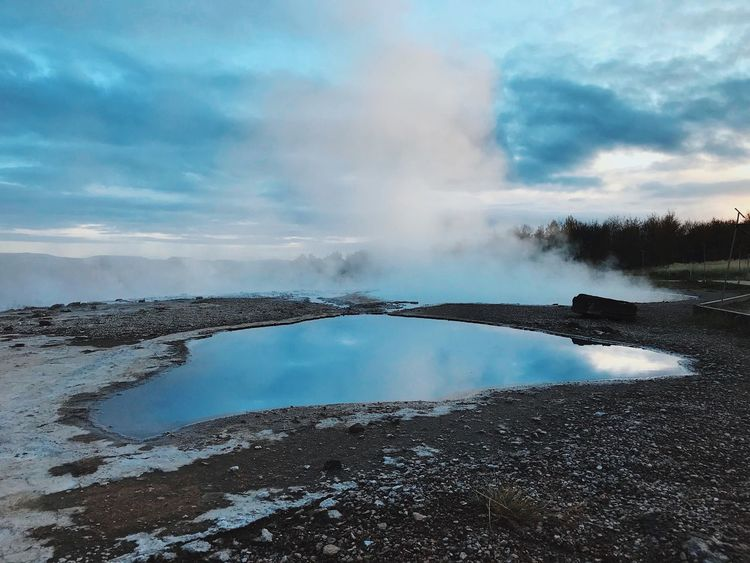 Water Nature Beauty In Nature Geyser Sky Steam Hot Spring Scenics Cloud - Sky Geology Outdoors Tranquil Scene No People Day Physical Geography Tranquility Landscape Power In Nature Heat - Temperature Volcanic Landscape The Week On EyeEm IPhone Iceland IPhoneography Cloud Maker
