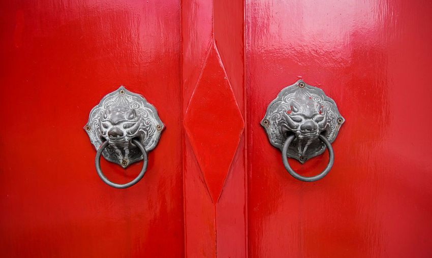 Close-up Closed Creativity Door Door, Full Frame No People Red Vibrant Color Wood - Material Wooden