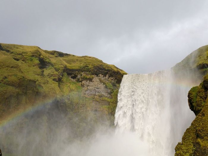 Mist Moss Icelandic Landscape Icelandic Waterfall Rainbow Water Power In Nature Waterfall Cliff Motion Flowing