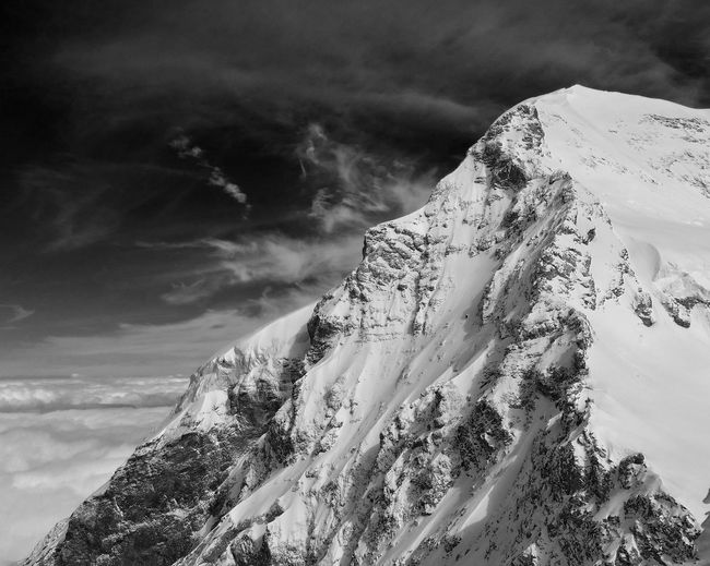 Mönch Alps Switzerland Blackandwhite Mountain Snow Sky Landscape Cloud - Sky Close-up Snowcapped Mountain Physical Geography Mountain Peak Dramatic Landscape Rugged Mountain Range