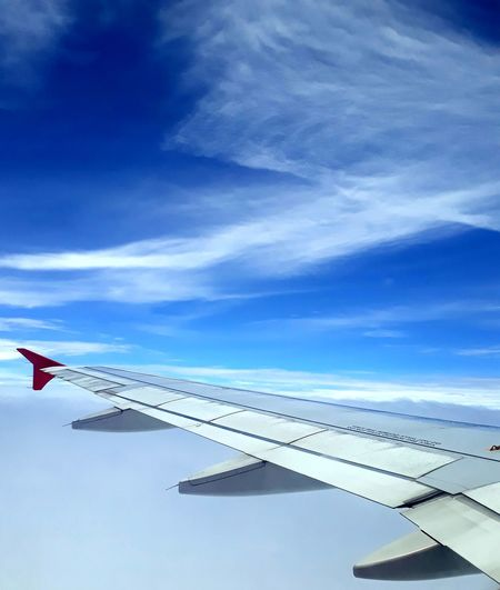 Airplane wing in sky
