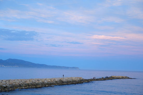 Blue Sky Clouds Blue Color Pink Color Breakwater Sooc SONYrx100m3 Horizon Sunset Tranquility People Rocks Placid  2018 January Outdoors Nature Sea Water Beauty In Nature