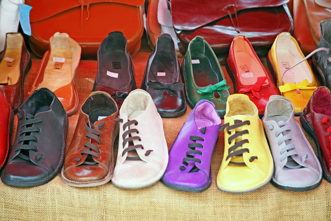 Close-Up Of Shoes For Sale