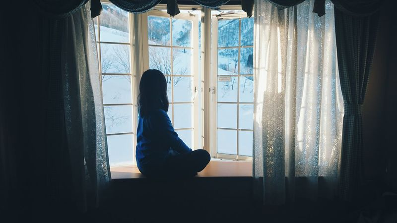 a hotel room few meters from Gelende. Window Looking Through Window Curtain One Person Indoors  Silhouette Window Sill Side View Snow Snowbording Vscocam VSCO Breathtaking The Secret Spaces Japan