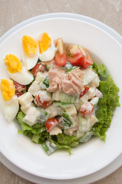 Breakfast Cucumber Salad Close-up Day Eggs Food Food And Drink Freshness Healthy Eating High Angle View Indoors  No People Plate Plates Ready-to-eat Salad Tomato Top View Of Food Tuna Western Food Yummy