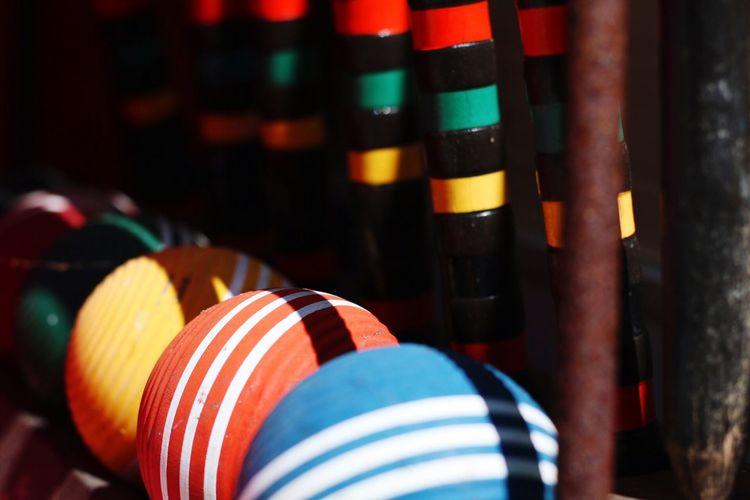 Sunlight falling on colorful balls