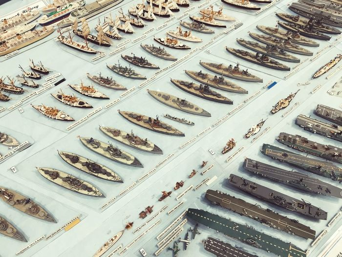 A display of miniature model battlships Battle Display Exhibition Hobby Model Model Engineering Repetition Ships Tabletop Display battle
