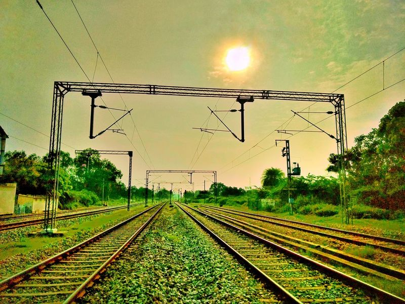 Railroad Track Rail Transportation No People Transportation Outdoors Electricity  Cable Sky Nature Day Tree NiceShot Art Is Everywhere CreativePhotographer Mobilephotography Bestphotographer Multi Colored Nature Freshness Photooftheweek Full Frame Portrait Nopeople Sky