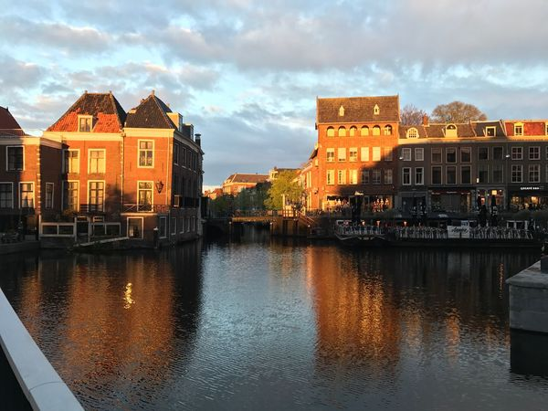 Architecture Building Exterior Built Structure Sky Cloud - Sky Reflection Water Waterfront Residential Building Nautical Vessel City Outdoors Day No People Cityscape Nature Holland Leiden Netherlands Colour Your Horizn