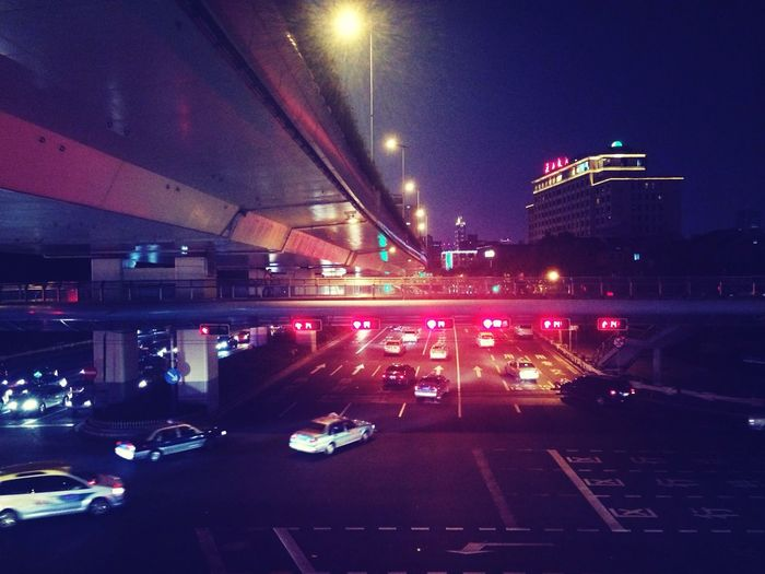 Traffic Night Lights Jing'an