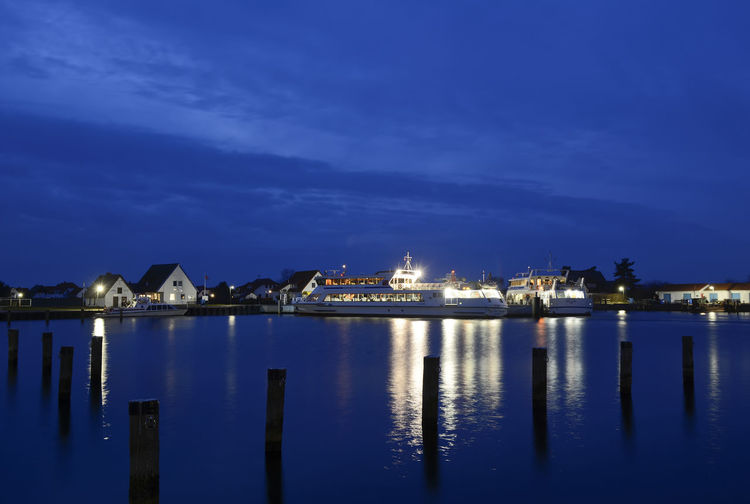 ferry in neuendorf Baltic Sea Ferry Neuendorf Architecture Evening Hiddensee Illuminated Island Nature Night Outdoors Port Reflection Sea Sky Water Waterfront