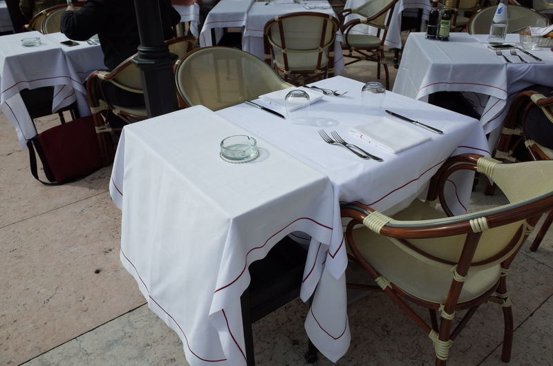 High angle view of tables and chair at sidewalk cafe