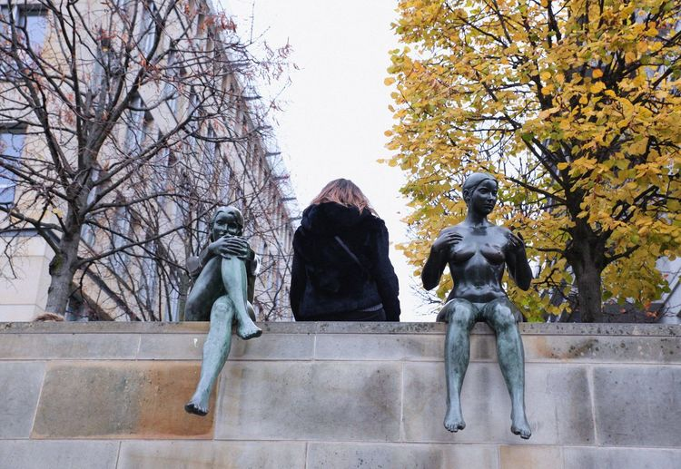Architecture Art And Craft Autumn Bare Tree Clear Sky Day Discover Berlin Human Representation Low Angle View Male Likeness Nature No People Outdoors Sculpture Sky Statue Tree