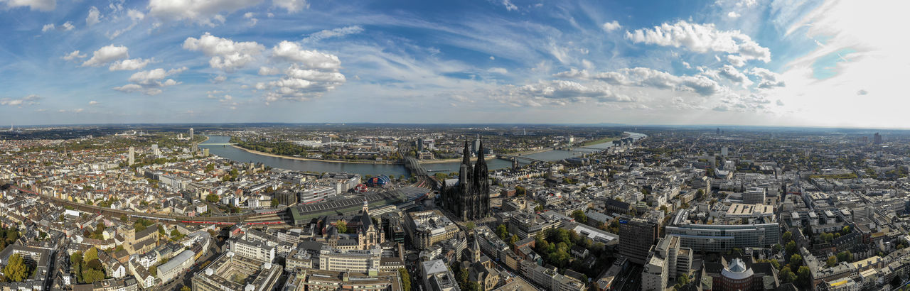 panorama shot of cologne City Architecture Cityscape Panoramic Aerial View Horizon Day Skyscraper Cathedral River Drone Photography
