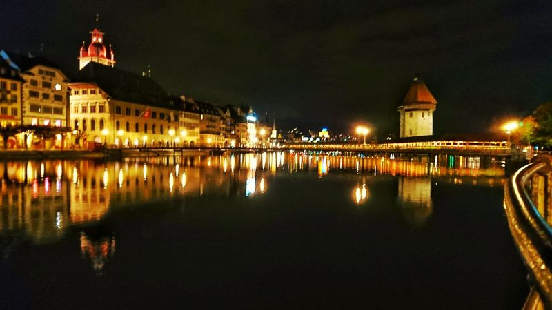 Xperiaphotography Xperia XZ. Mobile Long Exposure Illuminated Night City Long Exposure Reflection Bridge - Man Made Structure No People Water Sky Cityscape Chapel Bridge Lucerne, Switzerland Lake Lucerne Waterfront Lake Architecture Reflection